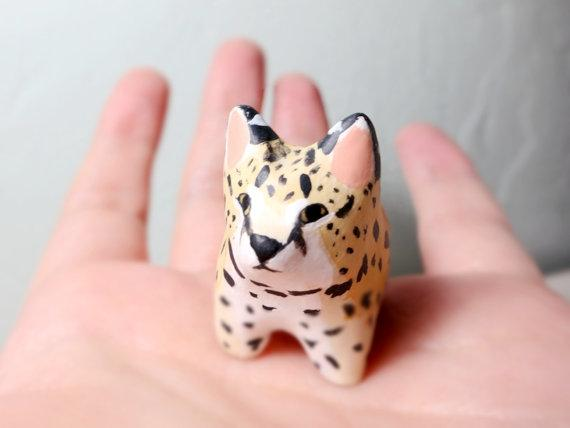 Serval cat pocket totem figurine by HandyMaiden on Etsy