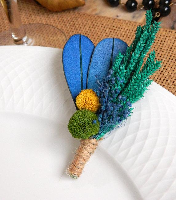 Kiwi Blueberry Blue Yellow Green Boutonniere by WeddingSundae