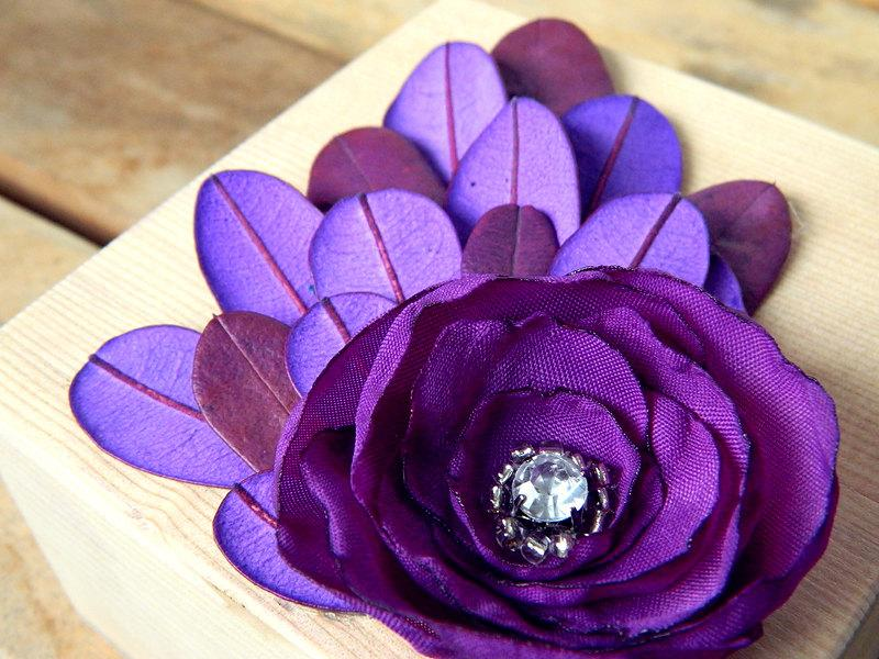 Peacock Feathers Purple Ring Bearer Wooden Box by WeddingSundae