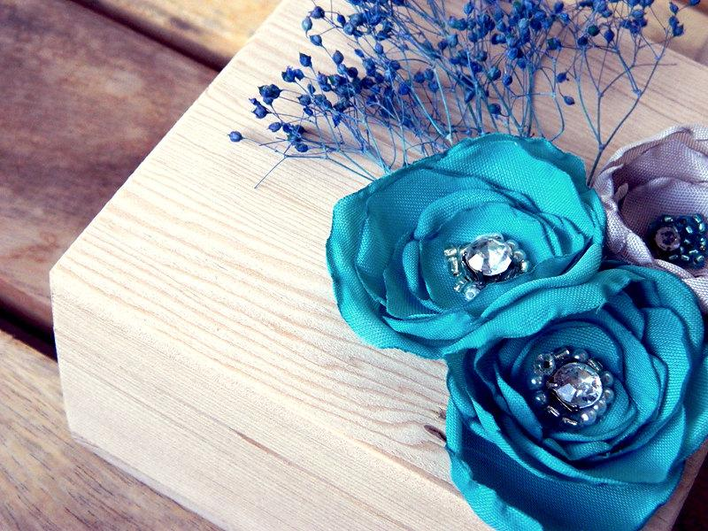 Mint Blue Autumn Teal Ring Bearer Wooden Box by WeddingSundae