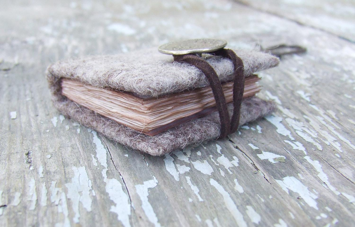 Mini notebook key chain coin grey journal felted wool by Baymut