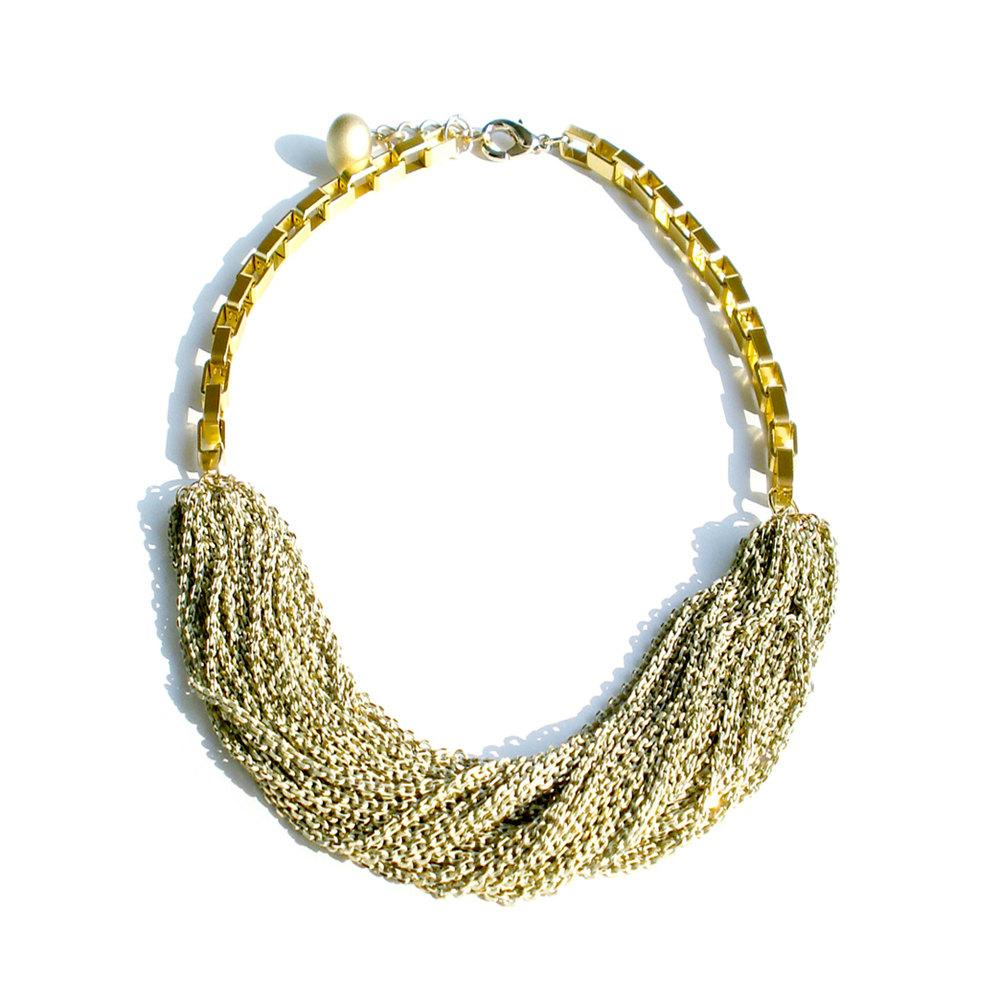 Multi Strand Chic Statement Chain Necklace Ivory by StudioHx3