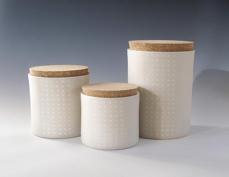 dotted cork jar Large by paulova on Etsy