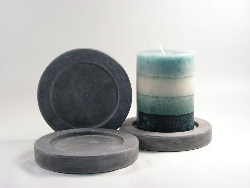 Round Concrete Pillar Candle Plate set of 3 by roughfusion