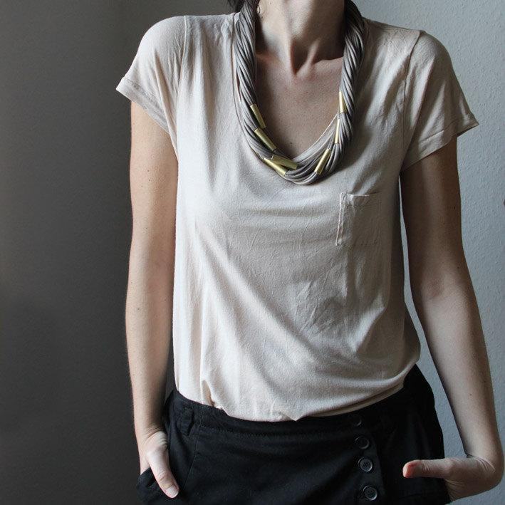 Twisted fabric necklace and brass tubes by sewasong on Etsy