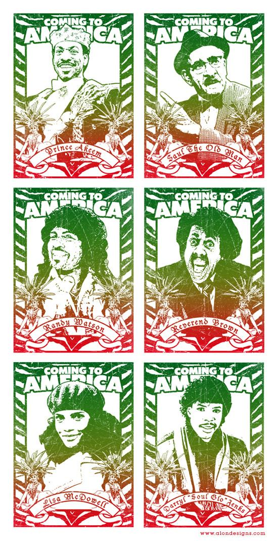 Coming to America Set of 6 Poster by Alon Avissar | Wall of Fame | Daily Inspiration