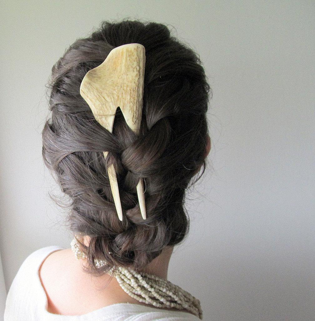 Elk Antler Hair Comb Hair Fork Statement by JCMcCairnsCottage