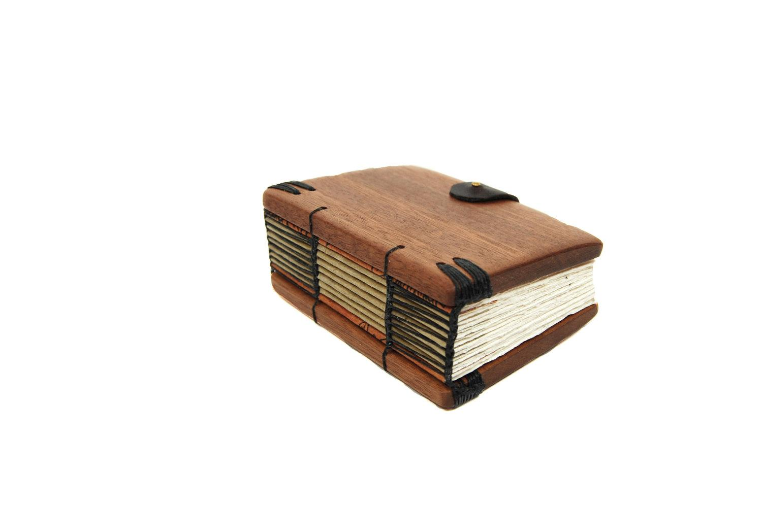 mini mahogany journal handmade blank wood by ThreeTreesBindery