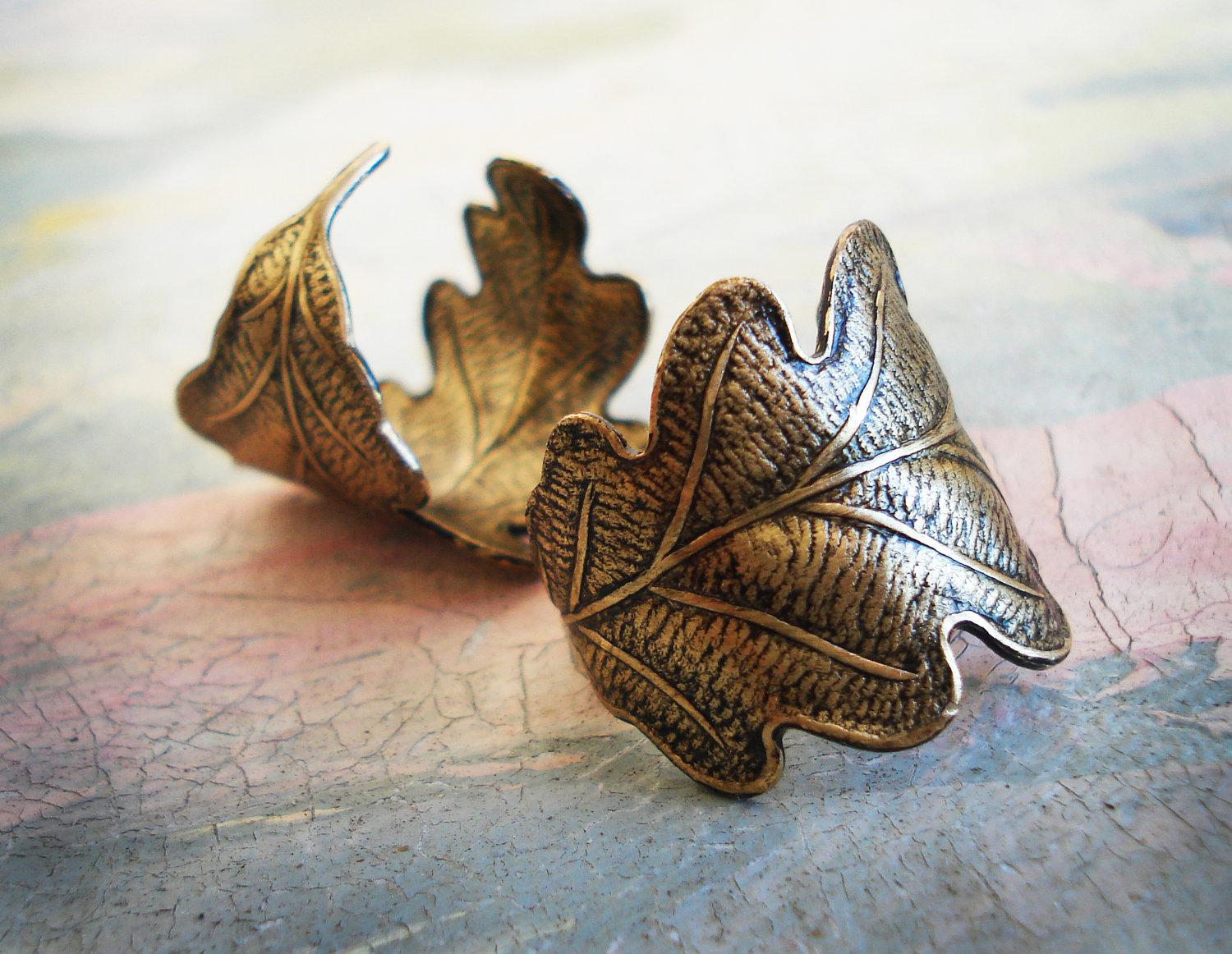 Fallen leaves Antiqued gold tone brass oak tree leaf by zipluxe