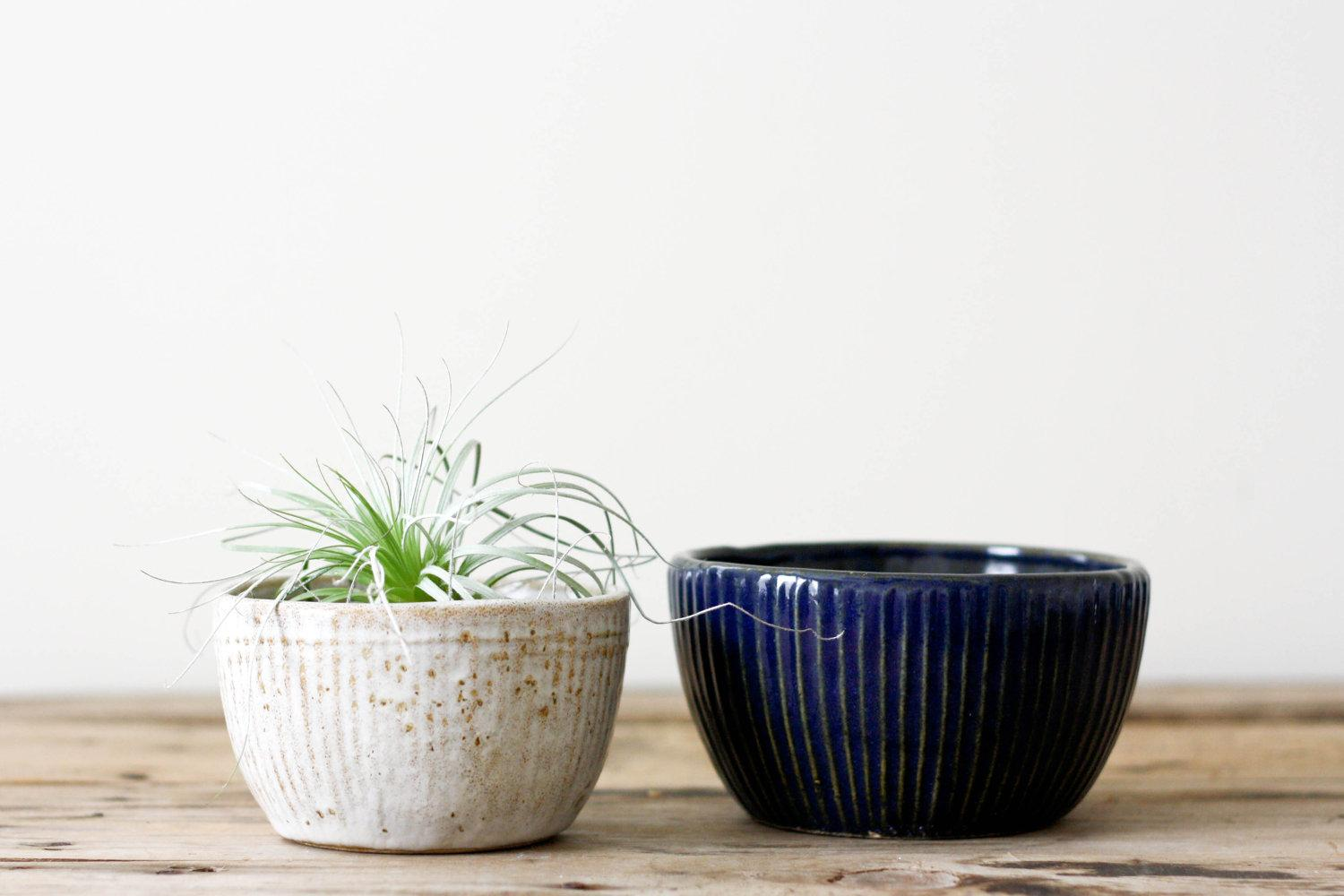 Vintage Pottery Planters Rustic Blue and White Bowl by PineandMain