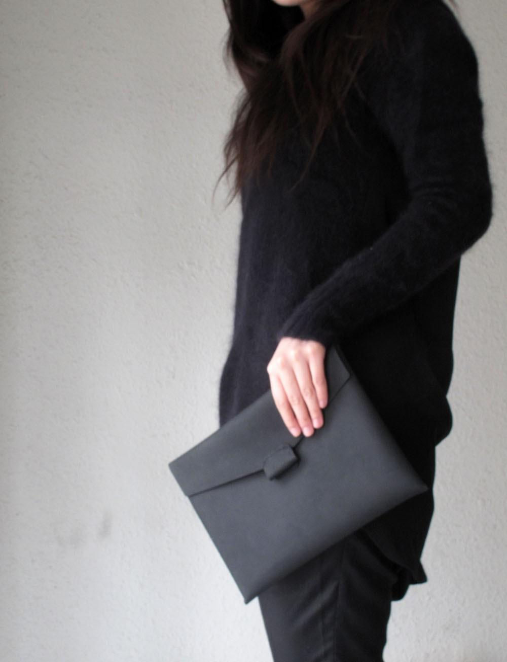 Handstitched matte black leather iPad case by HIDDENGEMstudio