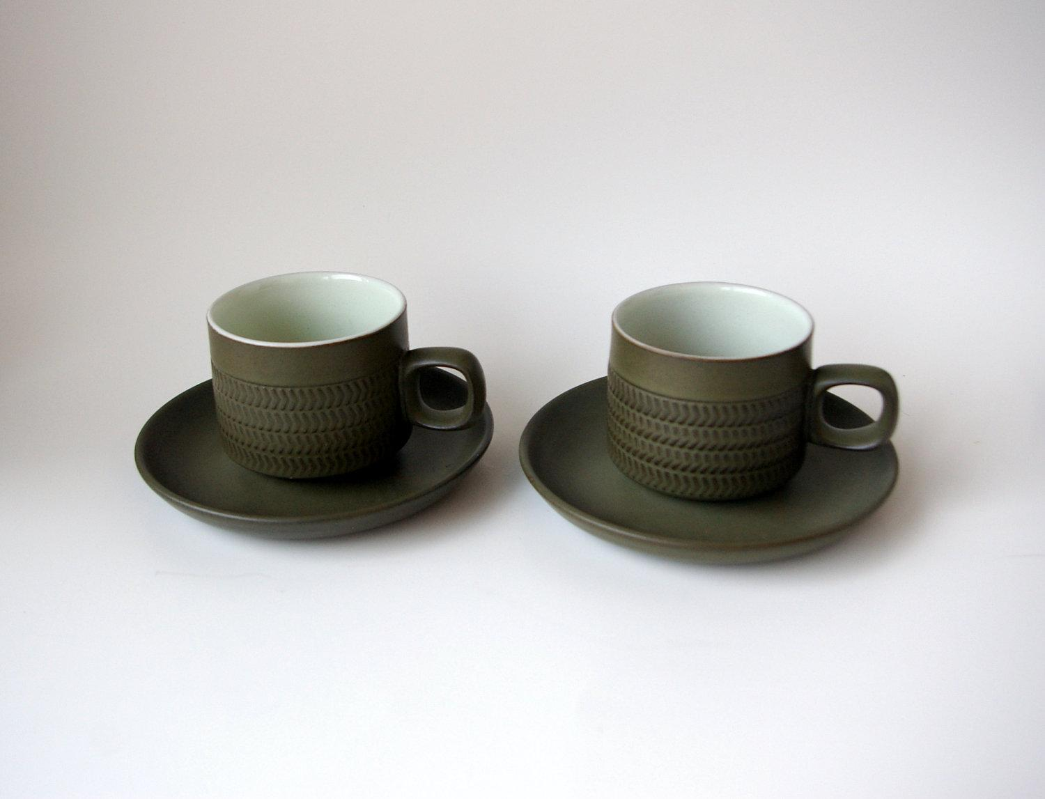 Denby Chevron Camelot Two Cups and Saucers Designed by bitofbutter