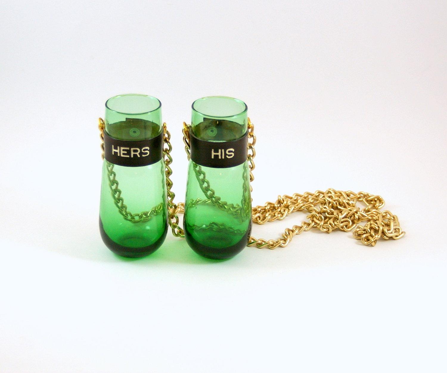 His and Her Retro Hanging Wine Glass Necklaces by bitofbutter