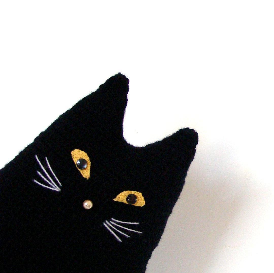 Black cat toy pillow crochet cushion pillow by zolayka