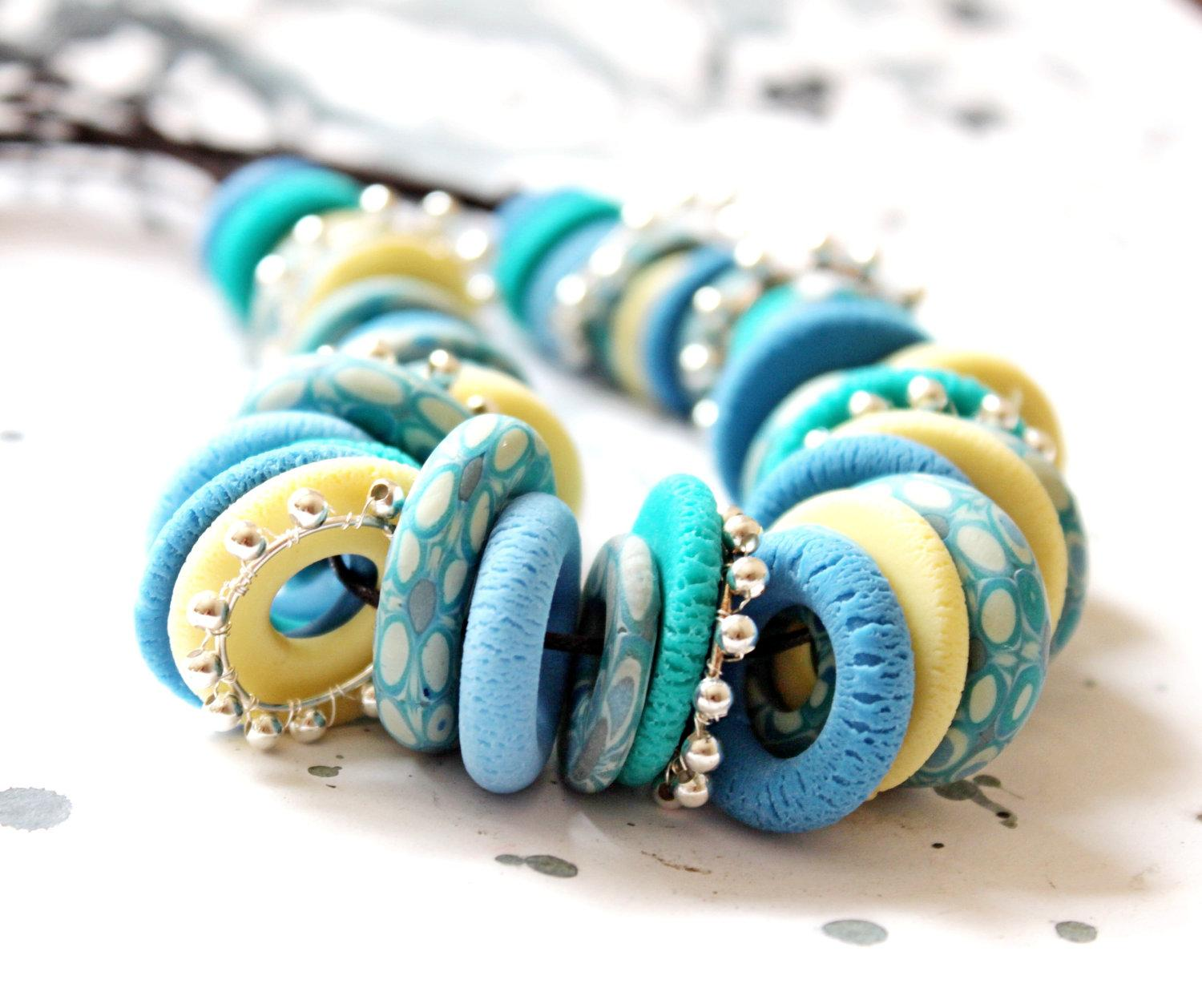 Necklace from blue and yellow Fimo Free shipping by LyamayevaCraft