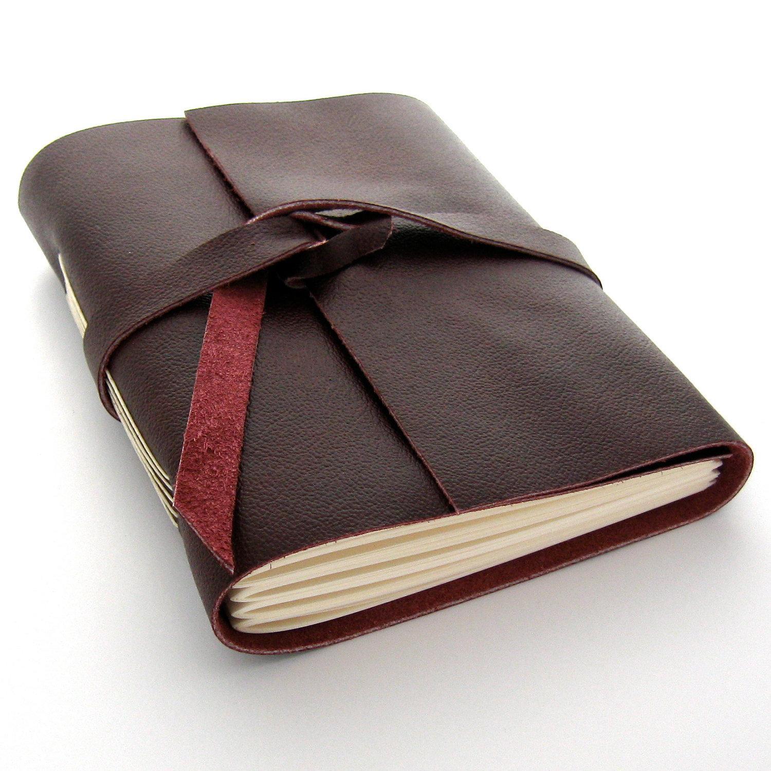 Handmade Leather Journal and Sketchbook in by peaseblossomstudio