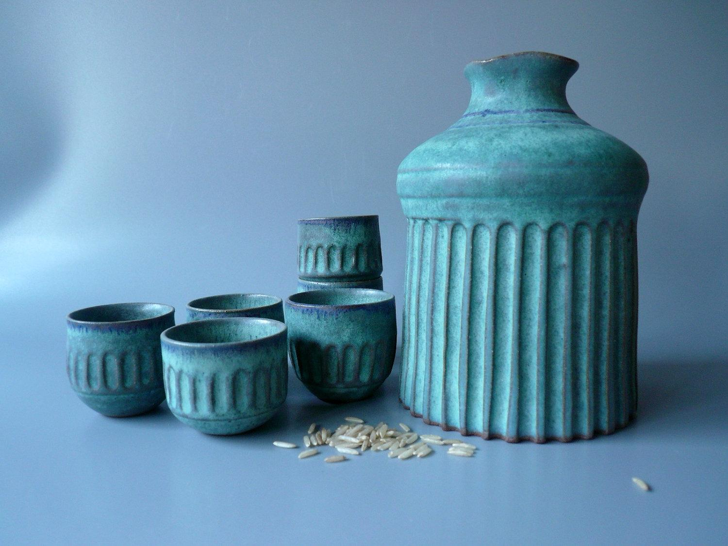 Roman Sake Set for Six by CrowWhitePottery on Etsy