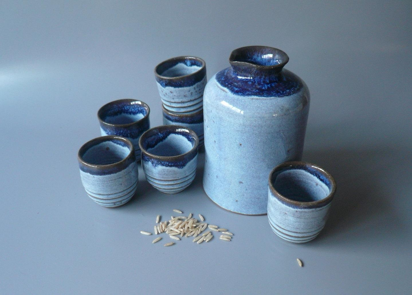 Day & Night Sake Set for Six by CrowWhitePottery on Etsy