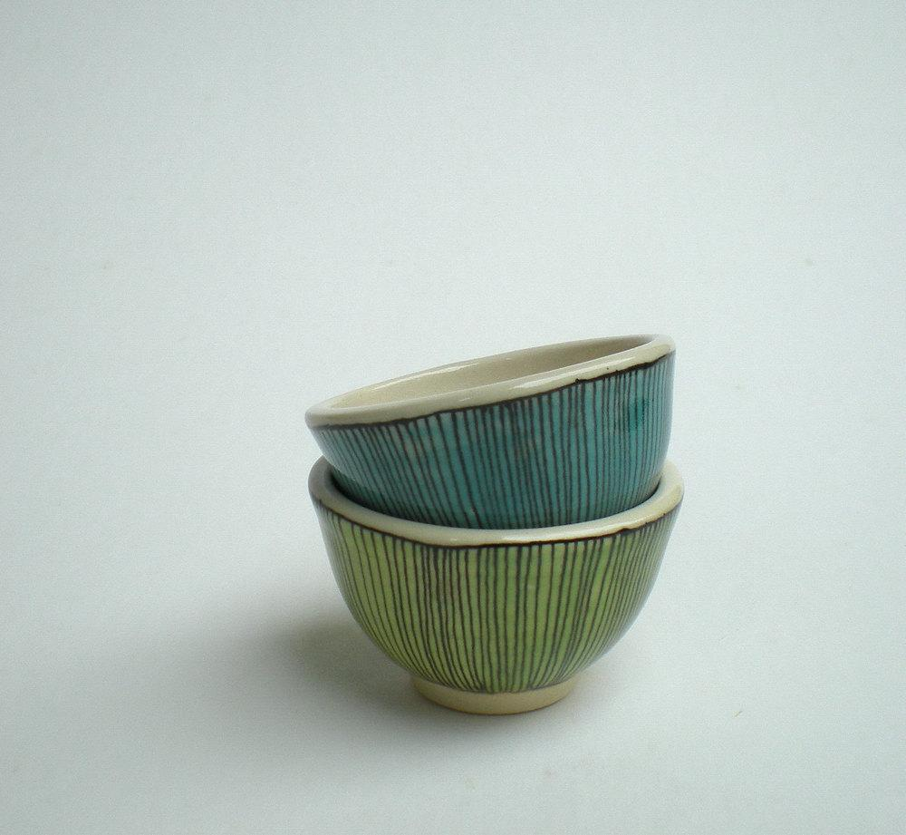 two small cups in blue and green by catherinereece on Etsy