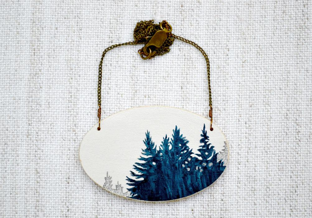 Treeline Vignette Necklace hand painted blue and by MeghannRader
