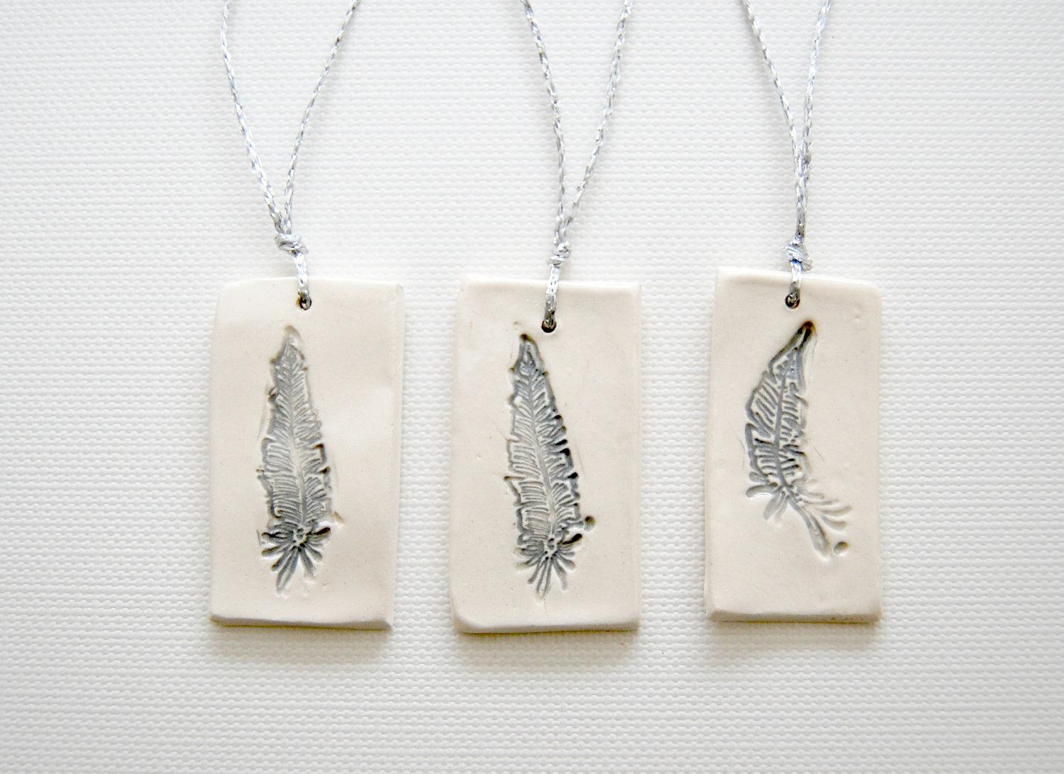 ceramic Gift Tags grey feather by alluvial on Etsy