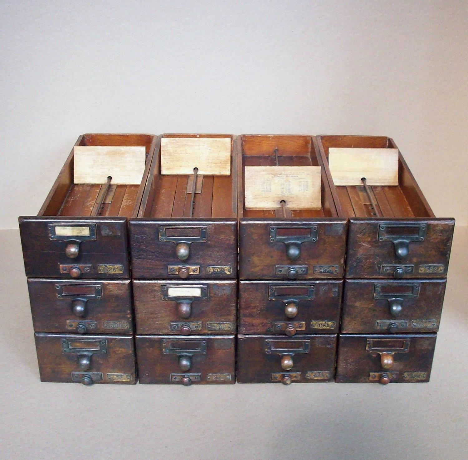 Vintage Library Card Catalogue Drawer with Label by urgestudio