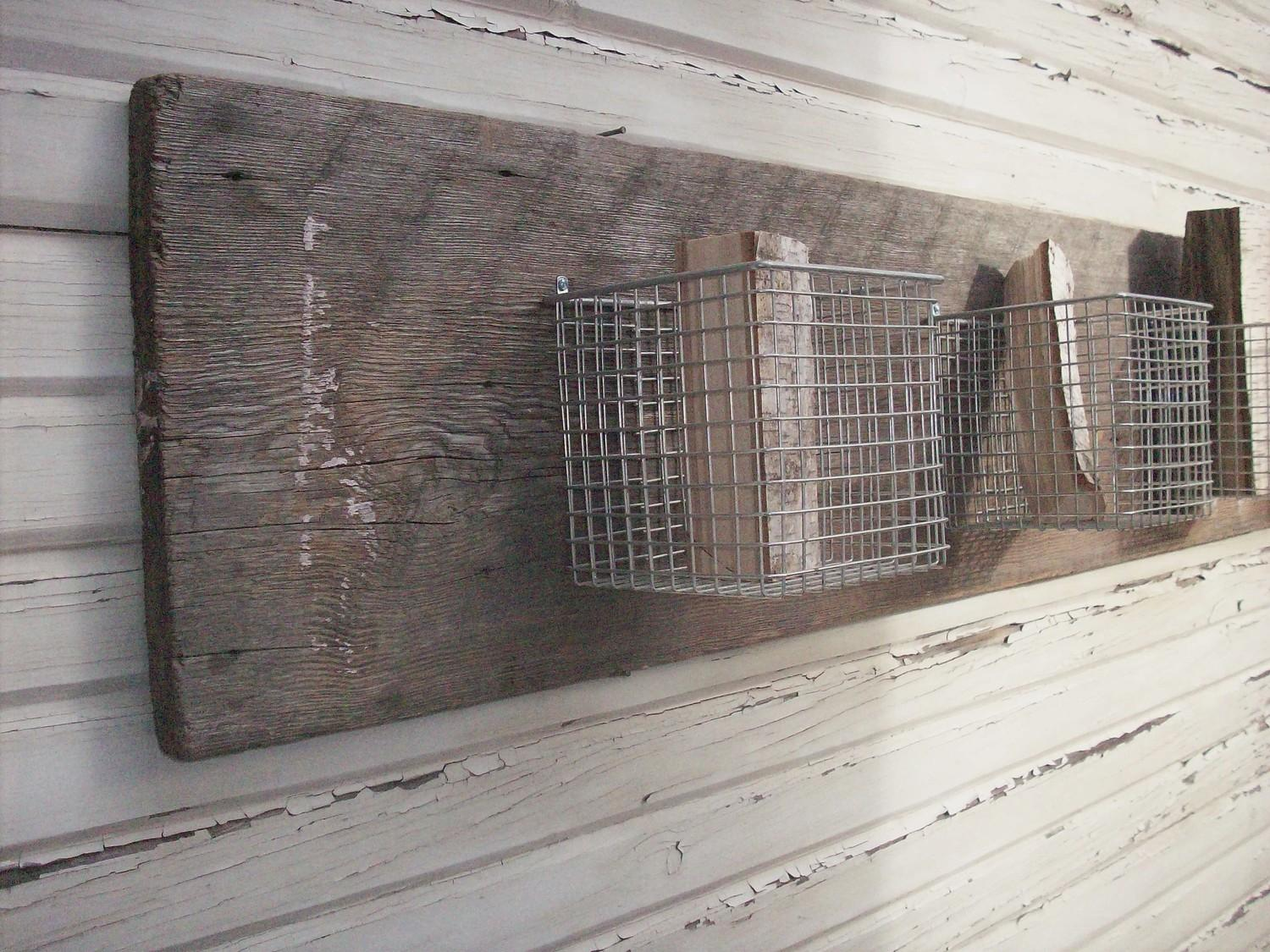 4 Baskets and a Board Wall Storage / Hanging by urgestudio on Etsy