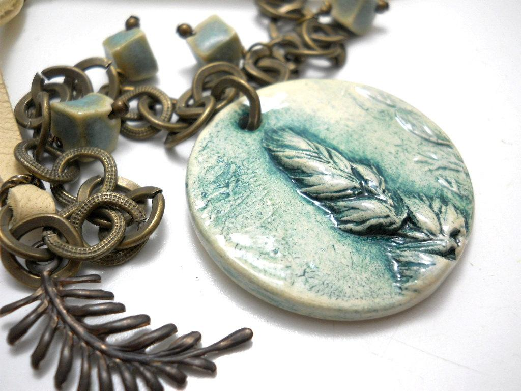 Feather Ceramic Necklace Antiqued Brass by ChelseaGirlDesigns