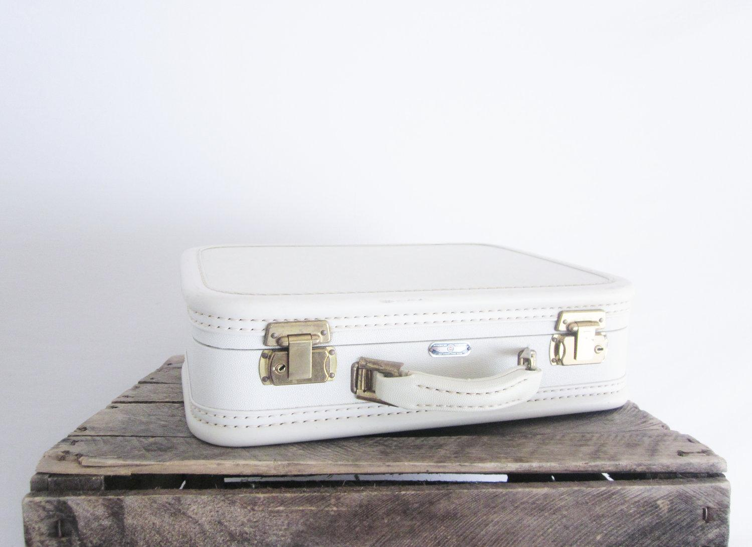 Vintage White Cream Luggage American by LittleRedPolkaDots on Etsy