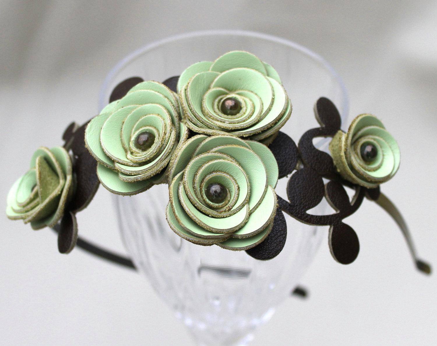 Green flower headband leather leaves bridal by Leatherblossoms