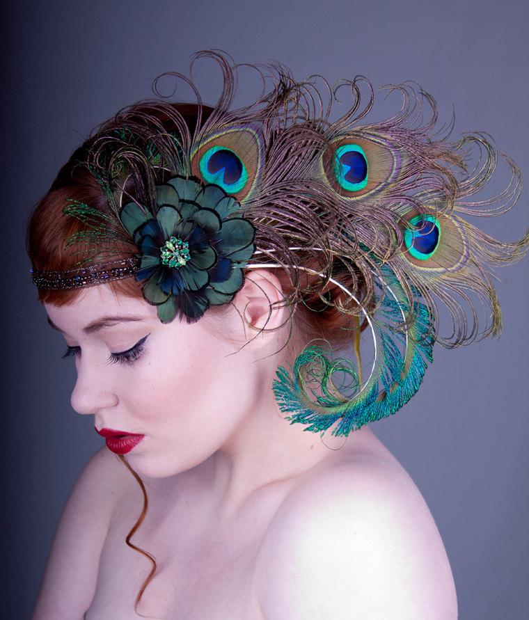Absynth Nymph Peacock Feather Flapper Headband by BaroqueAndRoll