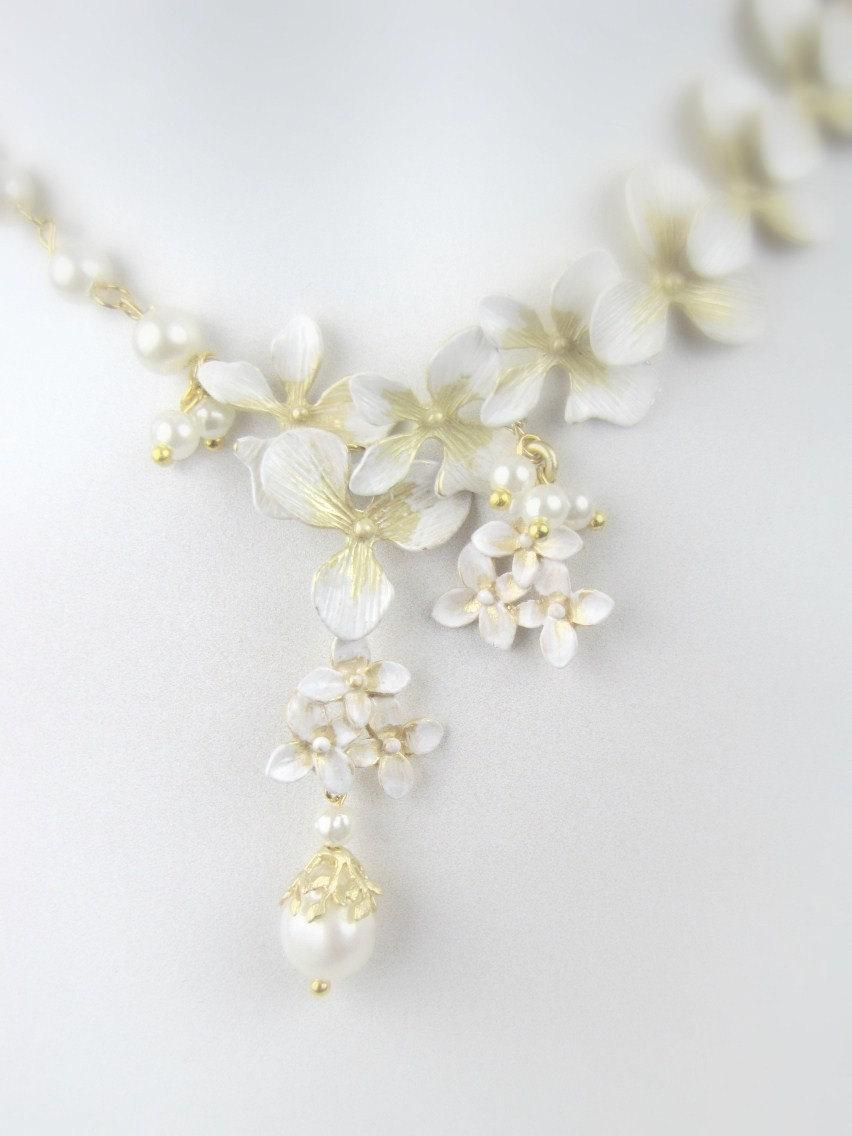 Wedding Jewelry White Pearl Flower by KathrynandOlivia on Etsy