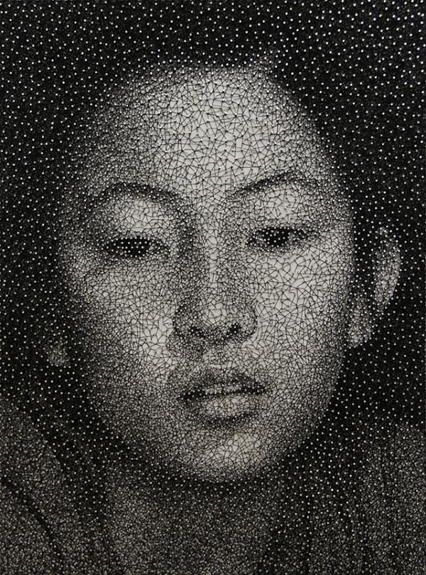Designspiration — Remarkable Portraits Made with a Single Sewing Thread Wrapped through Nails by Kumi Yamashita | Colossal