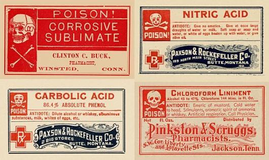 Designspiration — vintage-poison-labels-chemistry-halloween01.jpg (JPEG Image, 600x358 pixels)