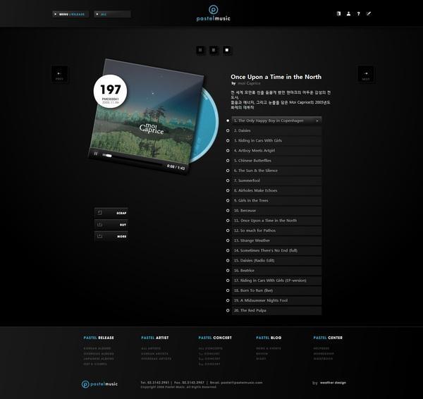 Site Web Musique Pastel sur la conception Web Servi