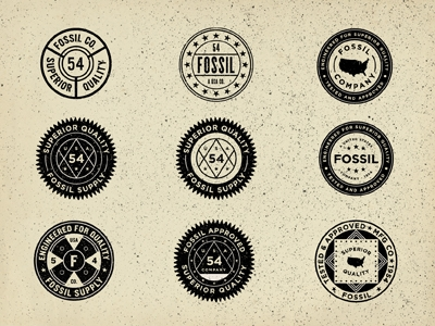 Designspiration — Dribbble - Vintage Union Inspired Seals - Fossil by Jonathan Schubert