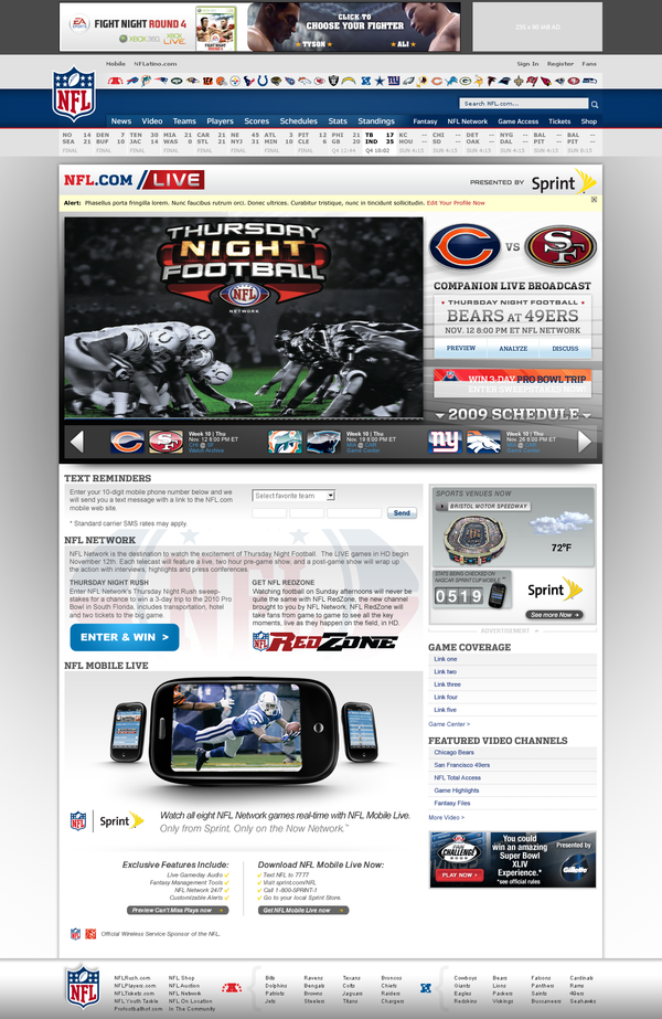 NFL.com/Live on Web Design Served