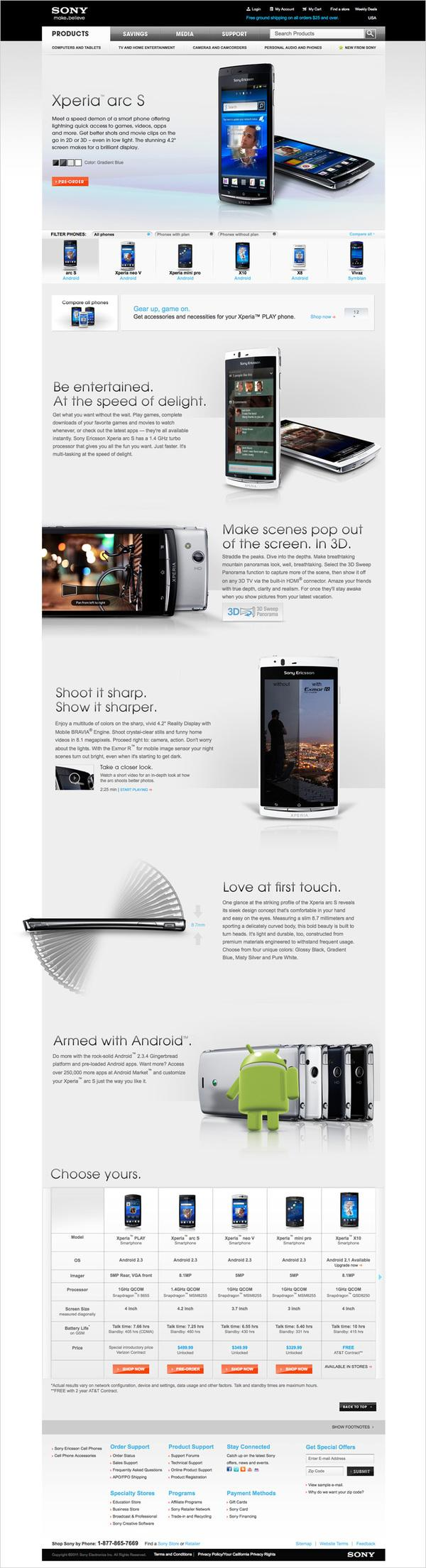 Sony Ericsson Landing Page on Web Design Served
