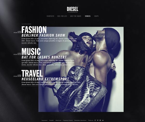 Diesel Fragrances // Magazin Concept 2011 on Web Design Served