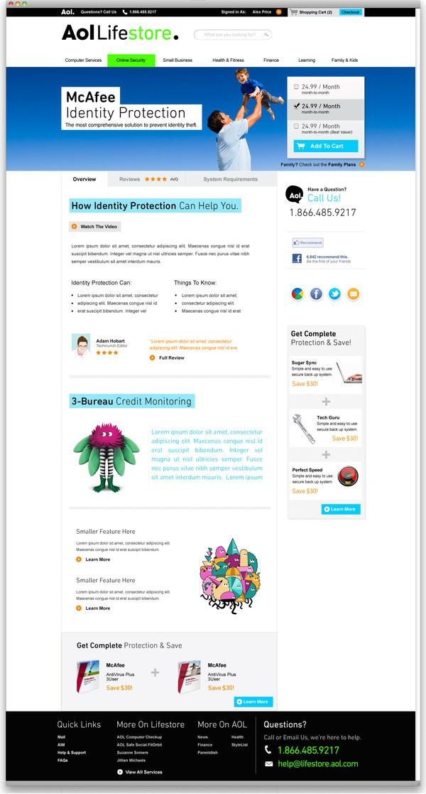 Aol Lifestore Website on Web Design Served