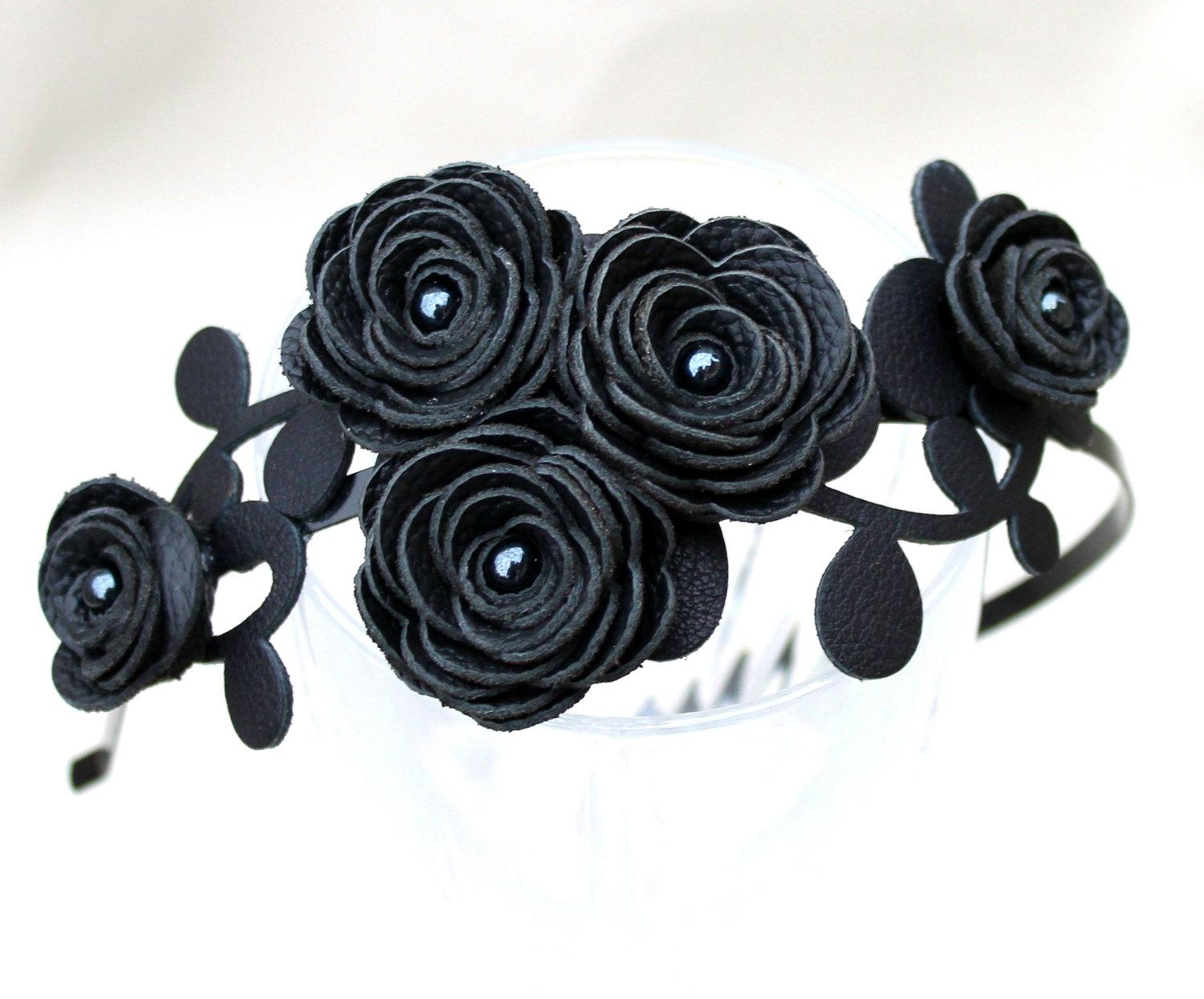 Black flower headband leather ranunculus leaves by Leatherblossoms