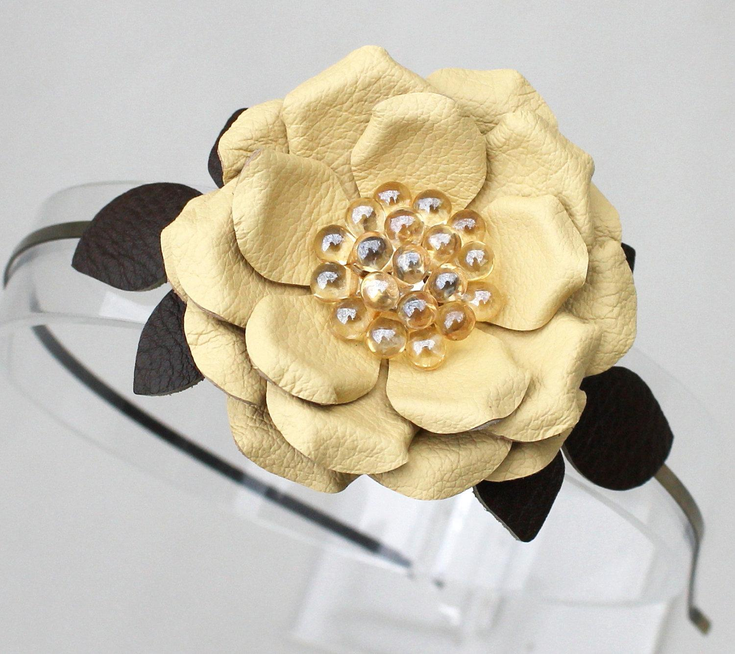 Yellow flower headband leather fascinator green by Leatherblossoms