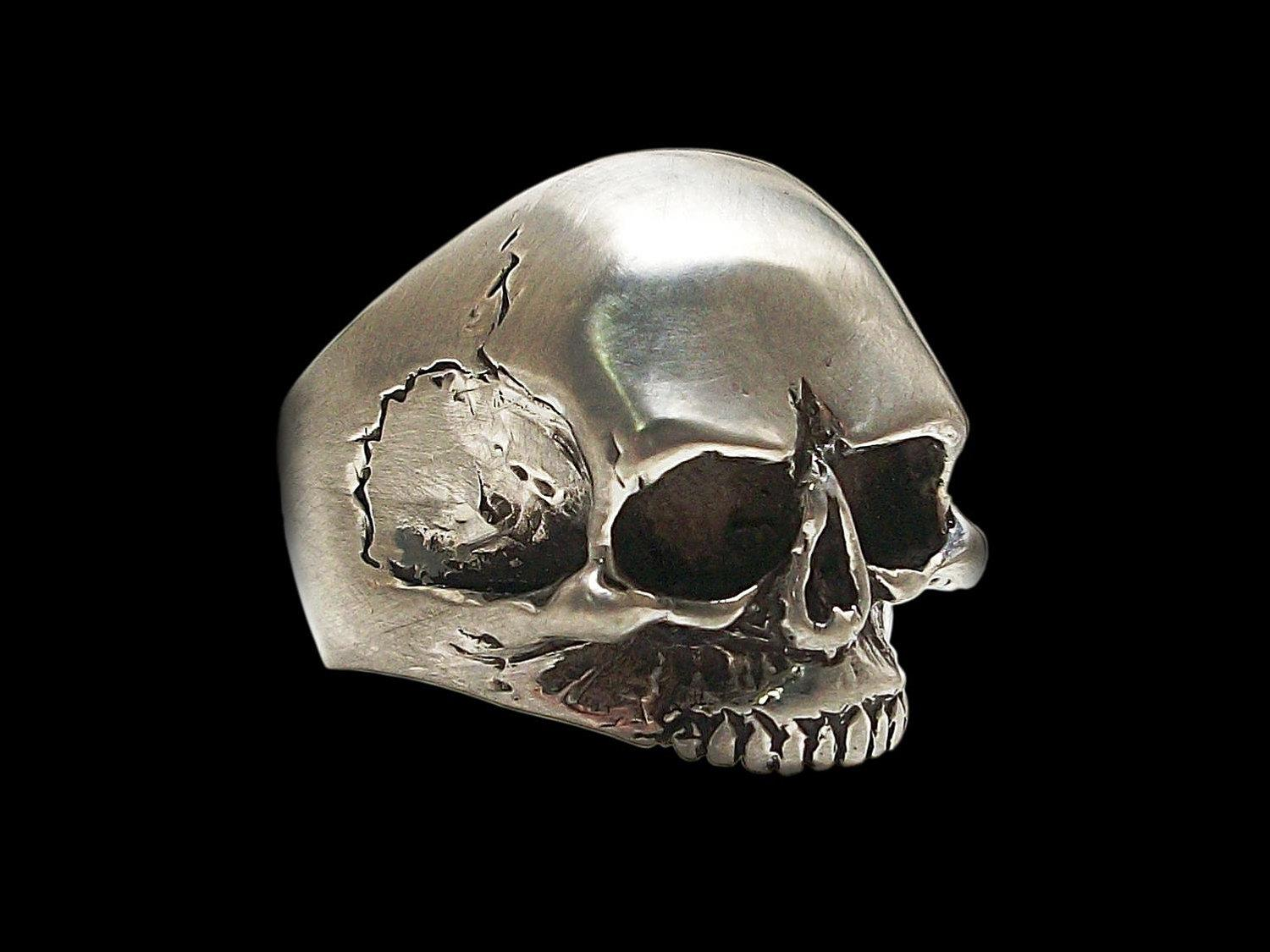 925 Solid Sterling Silver Keith Richards Skull Ring by Silveralexa