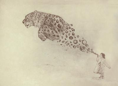 Bubbles the Snow Leopard Art Print by Darel Seow | Society6