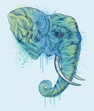 Elephant Portrait Art Print by Rachel Caldwell | Society6