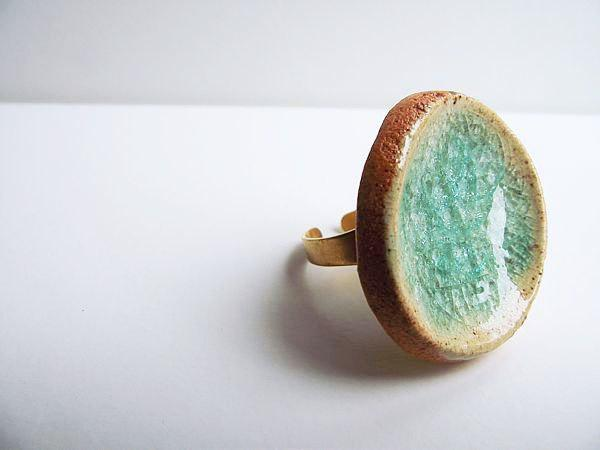 Ceramic and Glass Ring in a Deep Skyblue Ring by lofficina