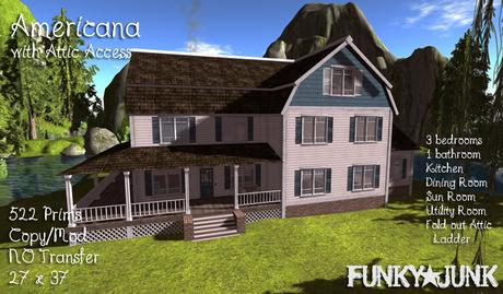 Second Life Marketplace - *Funky*Junk* Americana with Attic Access (Boxed)