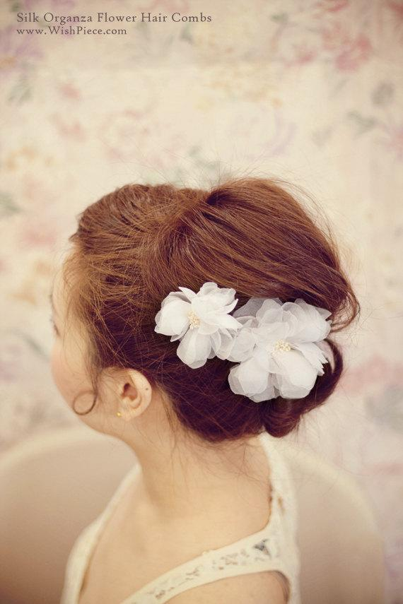 Bridal Hair Flower Wedding Hair Accessories Silk by wishpiece