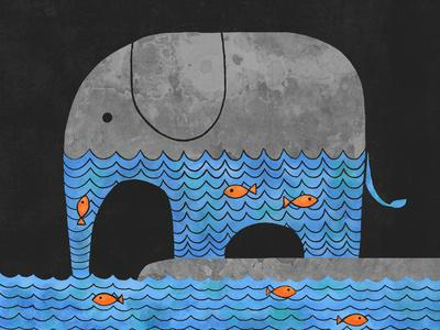 Thirsty Elephant Art Print by Terry Fan | Society6