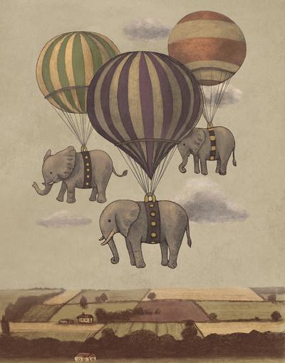 Flight of the Elephants Art Print by Terry Fan | Society6